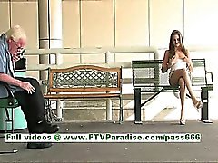 Monica cute brunette woman public flashing tits and pussy