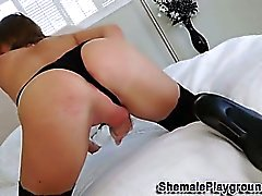 Stockings tranny jerks her cock