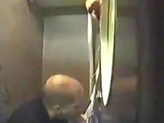 Guy Sucks Thick Cock in Public Restroom and Eats Cum