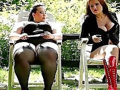 Marta en Jitka neuken hun persoonlijke slaaf tuinman