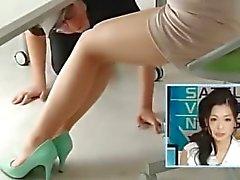 Japanese weather girl pantyhose feet licking