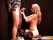 Cute girl gives handjob