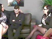 CFNM British girls stripping shy guy naked