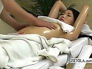 Subtitled CMNF Japanese schoolgirl first oil massage