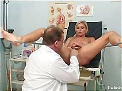 Foxy blond girl Leona vagina, ginecomastia checkup