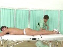 Mature brit nurse Sonia massages slut patient