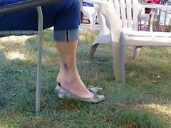 Candid ShoePlay Of My Wife Sliver Ballet Flats