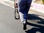 Jiggling ass cheeks parking lot walk