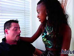 Ebony babe rides on a hard white cock