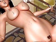3D do hentai wench fica fodido por um monstro de