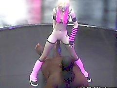 3D Skinny Emo Teen détruit par les étrangers!