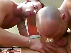 Three nasty gay bussinesmen having loud hard sex