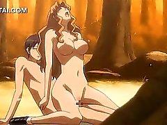 Hentai Porn flicka hårt för jävligt sin älskade i skogen