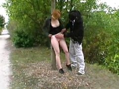 Redhead Rachelle analfucked on a trail