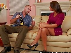 Rachel Starr seducing guy for a couch sex