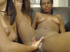 Black colombian teen getting fingered from her friends