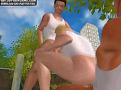 These three sexy studs in a 3D park are sucking and fucking