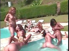 Outdoor orgy with burning Tgirls