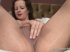 Brunette Linde Loves Just How Pantyhose Feel