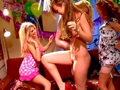 Four way lesbian orgy with teens Capri Anderson and Jayme Langford
