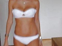 Catwalk - Beautiful russian girl in underwear and heels