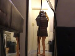 School girl gets her mouth fucked by a lucky housemate.