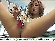 Melanie pretty little brunette flashing panties and flashing pussy and toying pussy inserting panties in pussy