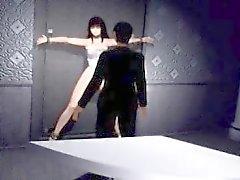 Sexy che Hentai porno in 3D Slave ottiene la lingua leccare