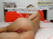 Horny Blonde Craves 4 GOVIBRA Toy Sticking Out Pussy Live Go