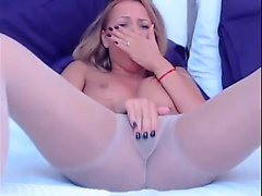 Blonde Cam-Girl in Her Pantyhose with Vibe ti