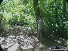 Dominique fucks in the woods