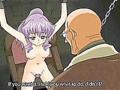Söta hentai slaven med kedjor är ivriga att dildo knullar sig själv