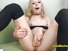 College tgirl blonde transgirl cumshot