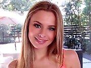 Blonde teen swallows load
