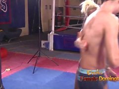 Blond Mistress kicking and punching loser slave