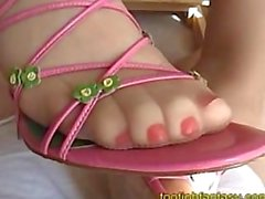 Pink Heels Pantyhose Footjob