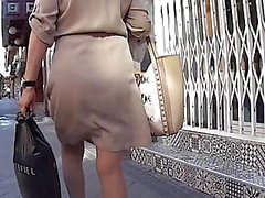 Mature VPL Through Beige Dress