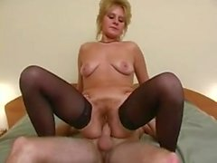 Mature's blonde hairy bush fucked