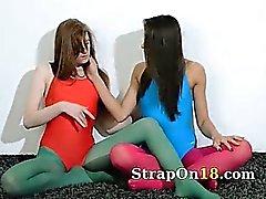 Hairy girlsongirls in nylon pants loving