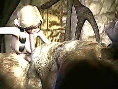 Rävaktigt 3D tecknad film blondin suger av ett troll en stenhård kran