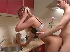60 Blonde on Plattforms in kitchen fucked