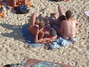 В группах вант , имеющих секс на пляже