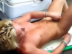 Straight blonde hunk pawn shop stripping