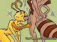 Berömda tecknade hjältar Antz hardcore orgie