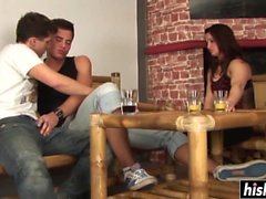 Horny girl plays with two kinky guys