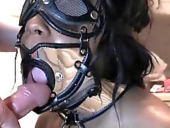 Tied up sex slave gets mouth pissed on knees