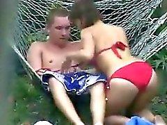 Russische Paar durch eine Voyeur Gesehen