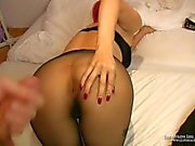 Footjob from behind with nylons over pantyhose