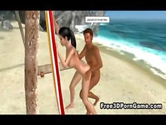 Sexy 3D cartoon honey getting fucked on the beach