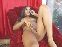 Tgirl likes jerking off while talking with her bf